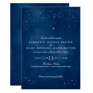 Shooting Star Blue Watercolor Wedding Invitation