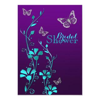 Shower Invite | Purple Teal, Floral, Butterflies