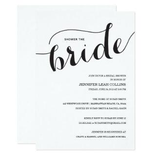 Shower the Bride Script Bridal Shower Invitations