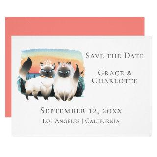 Siamese Cats Gay Lesbian Couple Save The Date Invitation