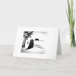 SILHOUETTE BRIDE AND GROOM-CONGRATS ON WEDDING DAY CARD