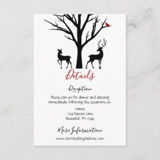 Silhouette Deer Couple Winter Love Wedding Details Enclosure Card