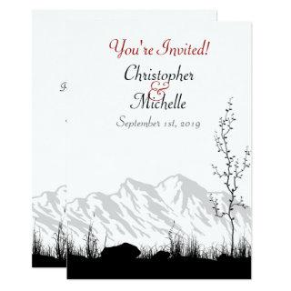 Silhouette Mountain Black, White and Red Wedding Invitation