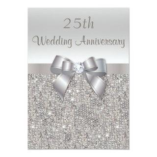 Silver 25th Wedding Anniversary Sequins and Bow Invitations