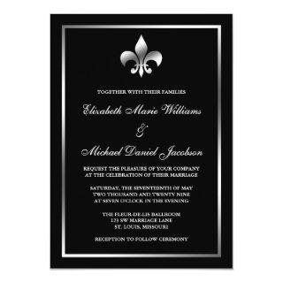 Silver and Black Fleur de Lis Wedding Invitation