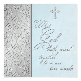 Silver and Blue Scrolled Wedding Invitation