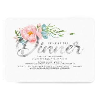 Silver and Blush Pink Florals Rehearsal Dinner Invitation
