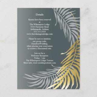 Silver and Gold Wedding Chic Tropical Details Enclosure Card