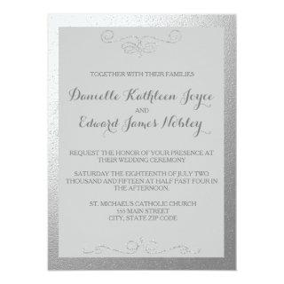 Silver and Gray Foil Wedding Invitations