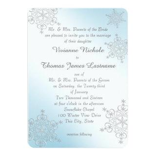 Silver and Ice Blue Snowflakes Wedding Invitations
