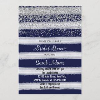 Silver and Navy Bridal Shower Invitation