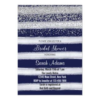 Silver and Navy Bridal Shower Invitations