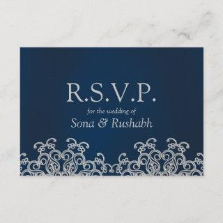 Silver and Navy Indian Style Wedding RSVP Card
