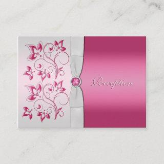 Silver and Pink Floral Reception Card