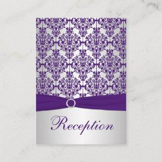 Silver and Purple Damask Enclosure Card