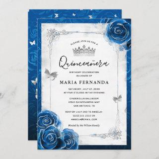 Silver and Royal Blue Roses Elegant Quinceanera Invitations