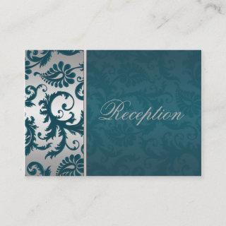 Silver and Teal Damask II Enclosure Card