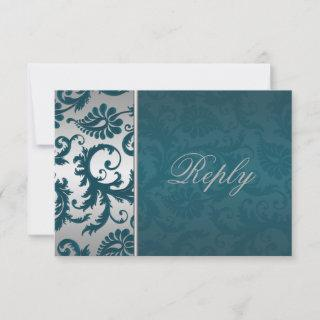 Silver and Teal Damask II Reply Card