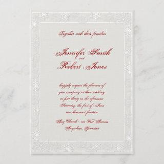 Silver and White Snowflake Wedding Invitation