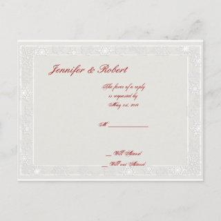 Silver and White Snowflake Wedding RSVP Postcard