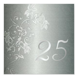 Silver Anniversary  25 Years Damask Flair Invitations
