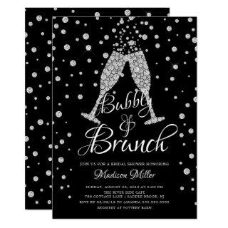Silver & Black Bubbly & Brunch Bridal Shower Invitations