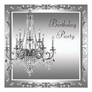 Silver Black Damask Chandelier Birthday Party Invitations