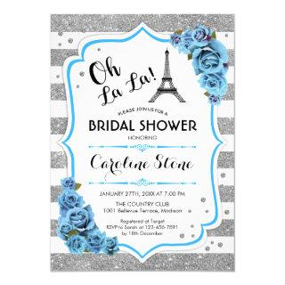 Silver Blue French Style Bridal Shower Invitations