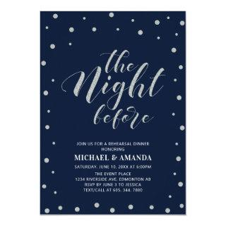 Silver & Blue | Modern Typography Rehearsal Dinner Invitation