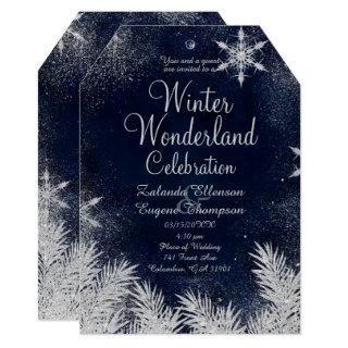 Silver blue snowflake wedding winter wonderland invitation