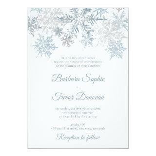Silver Blue Snowflakes Christmas Winter Wedding Invitations
