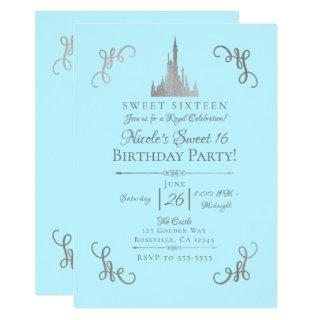 Silver & Blue Storybook Princess Sweet 16 Party Invitations