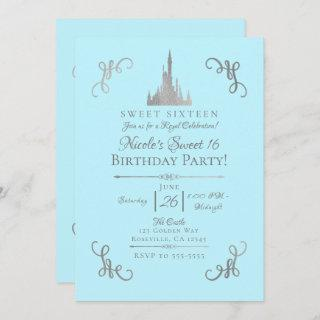 Silver & Blue Storybook Princess Sweet 16 Party Invitation