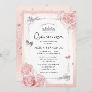 Silver Blush Pink Roses Watercolor Quinceanera Invitation