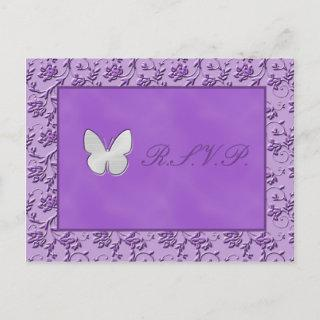 Silver Butterfly on Purple R.S.V.P. Postcard