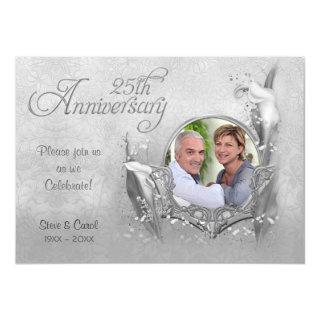 Silver Calla Lily 25th Wedding Anniversary Invitation
