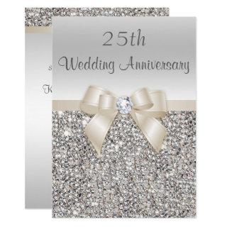 Silver Champagne 25th Wedding Anniversary Sequins Invitations