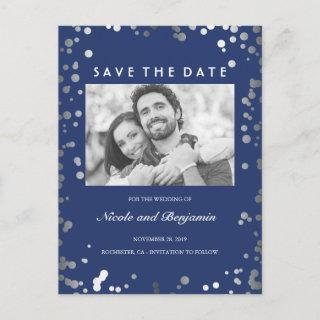 Silver Confetti Elegant Navy Photo Save the Date Announcement Postcard