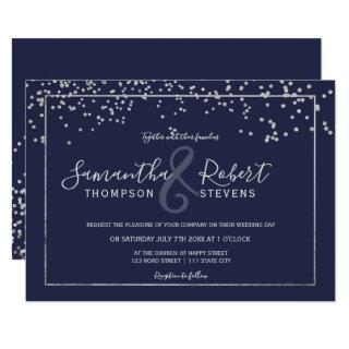 Silver confetti navy blue script chic wedding Invitations