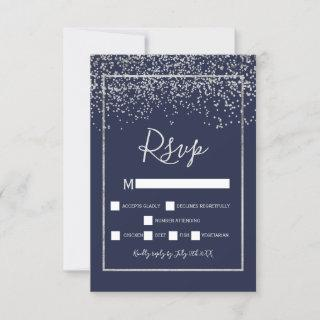 Silver confetti navy blue typography rsvp