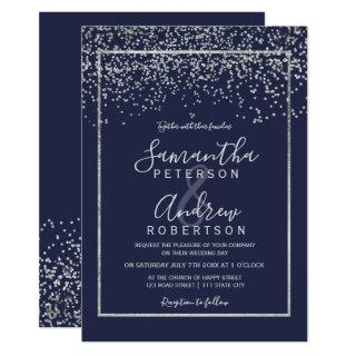Silver confetti navy blue typography wedding invitation