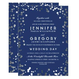 Silver Confetti Navy Modern and Elegant Wedding Invitations