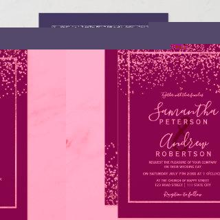 Silver confetti purple typography wedding Invitations