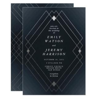 Silver Diamond Navy Geometric Deco Gatsby Wedding Invitation