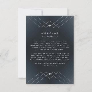 Silver Diamond Navy Geometric Deco Gatsby Wedding RSVP Card