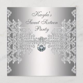 Silver Diamonds White Sweet Sixteen Birthday Party Invitations