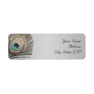 Silver Elegance Peacock Return Address Label