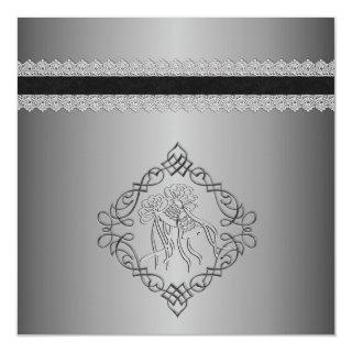 Silver Engraved Look Wedding Invitation
