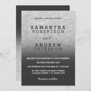 Silver faux glitter grey black ombre chic wedding Invitations