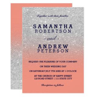 Silver faux glitter navy blue coral ombre wedding Invitations